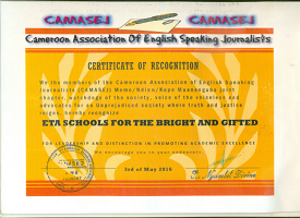 April 2016 Certificate of Recognition