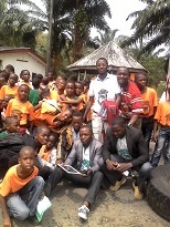 Students with Oben, Etim and Romeo after the school trip